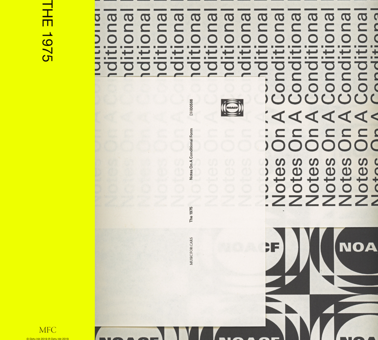 The 1975 notes on a conditional form cover artwork