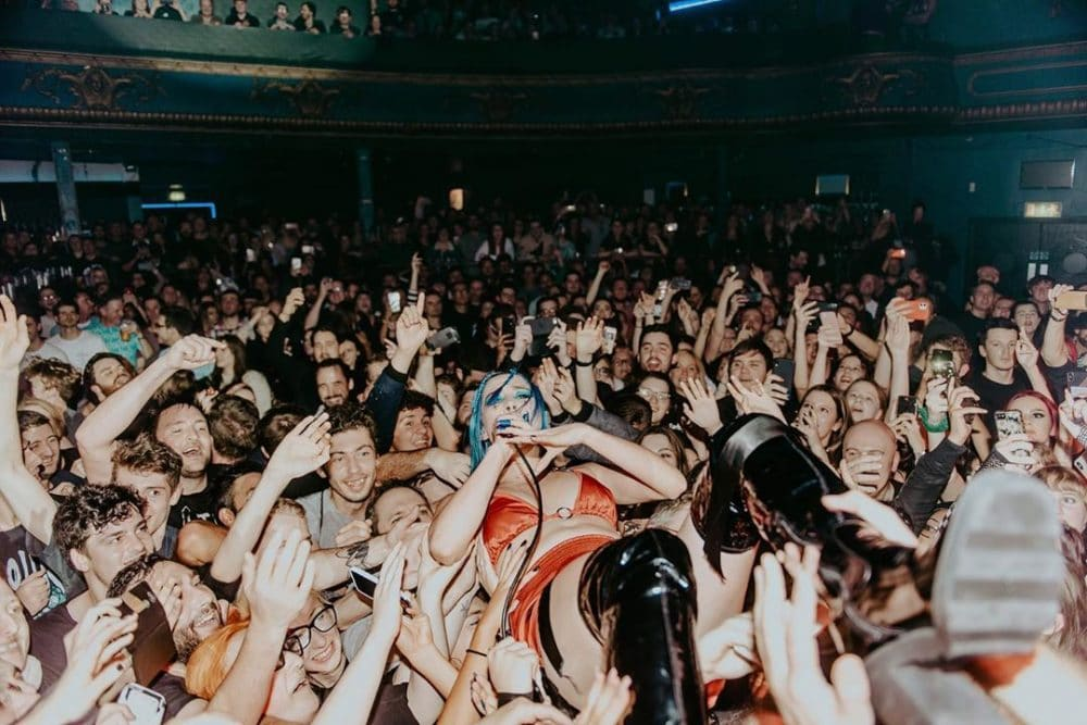 Theresa Jarvis of Yonaka crowdsurfing at the Electric Brixton in Lindon