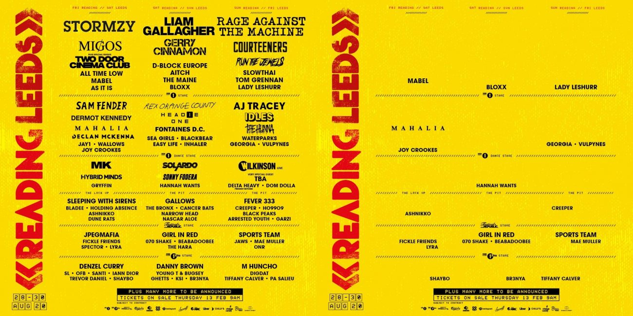 The Reading / Leeds lineup is rather thing without the male acts